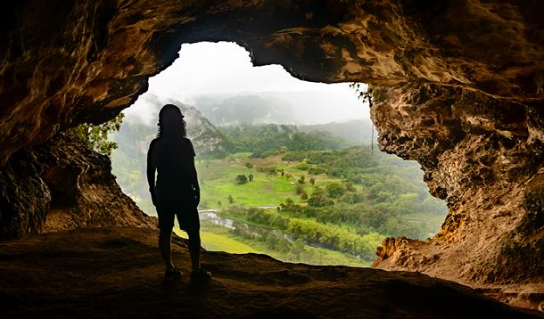 woman in cave